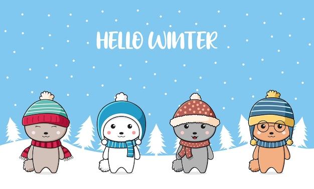 Śliczny królik pozdrowienie rodzinne cześć zima kreskówka doodle ilustracja tło karty