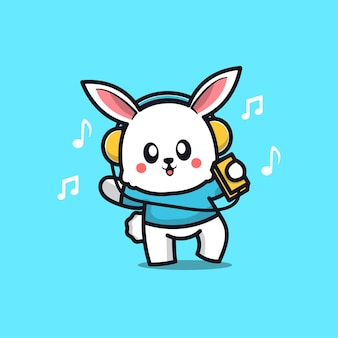 Śliczny królik słuchający muzyki w słuchawkach