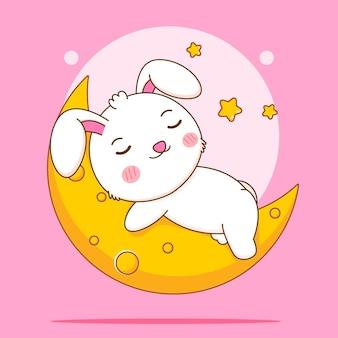Śliczny królik śpi na ilustracji postaci z kreskówek księżyca