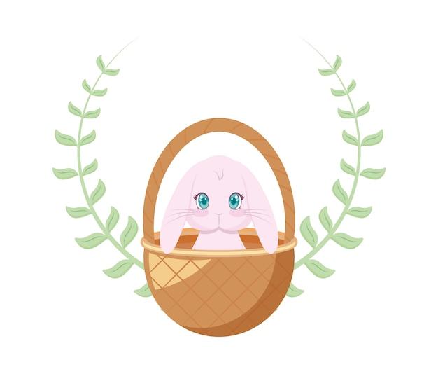 Śliczny królik w koszykowym łozinowym z koroną liście
