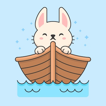 Śliczny królik w pływającej łodzi