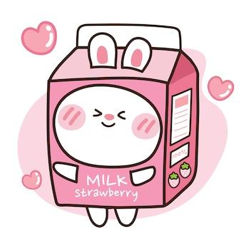Śliczny królik w pudełku mleka truskawkowego