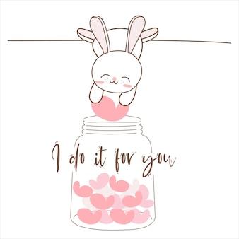 Śliczny królik wkładający serca do butelki