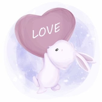 Śliczny królik z balonową miłością