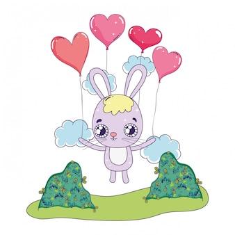 Śliczny królik z baloons dnia helem valentines