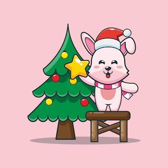 Śliczny królik z choinką w boże narodzenie śliczna świąteczna ilustracja kreskówka