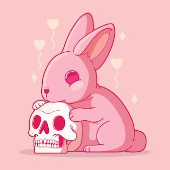 Śliczny królik z czaszką