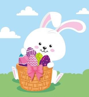 Śliczny królik z jajka easter dekorującym