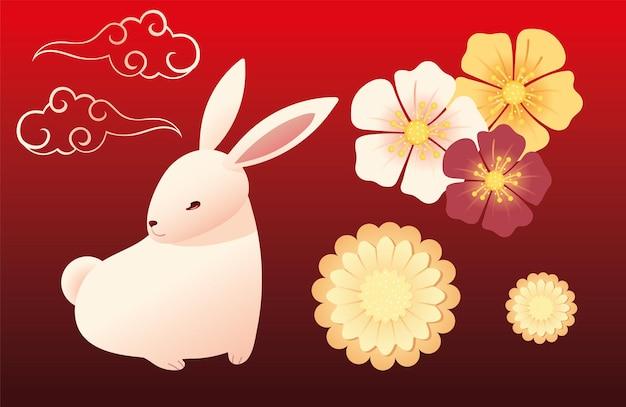 Śliczny królik z kwiatami