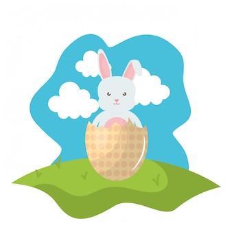 Śliczny królik z łamanym easter jajkiem malującym w polu