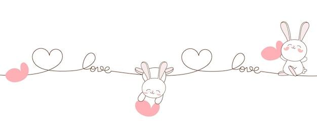 Śliczny królik zakochany na walentynki.