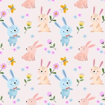 Śliczny królika bezszwowy wzór dla tkaniny tkaniny tapety