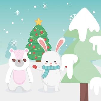 Śliczny królika i królika drzewa śniegu krajobraz wesoło boże narodzenia