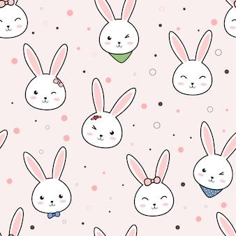Śliczny królika królika kreskówki doodle bezszwowy wzór