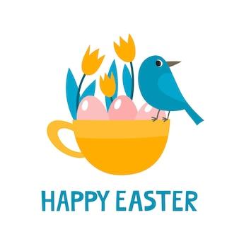 Śliczny kubek z ptakiem, jajkami i tulipanami na wielkanoc