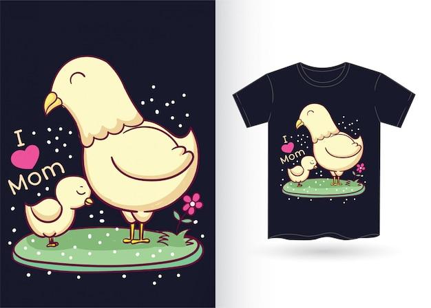 Śliczny kurczak na koszulkę
