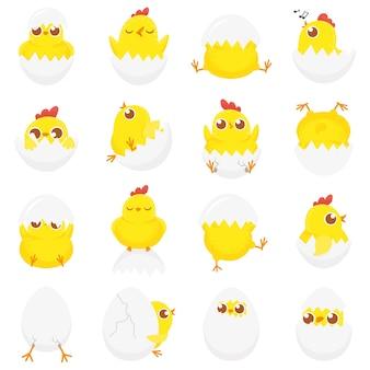 Śliczny kurczak w jajku, wielkanocne kurczątko, nowonarodzone kurczaki w skorupce i farmy kurcząt dzieci na białym tle zestaw kreskówka