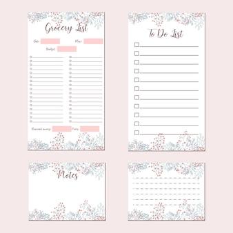 Śliczny kwiat minimalistyczny zestaw papeterii, lista artykułów spożywczych, lista rzeczy do zrobienia, notatki, notatki