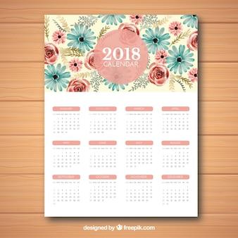 Śliczny kwiatowy kalendarz 2018