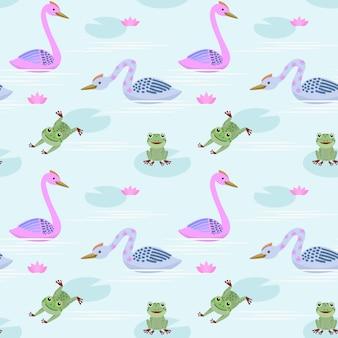 Śliczny łabędź i żaba w stawowym wzorze.