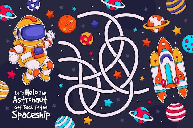 Śliczny labirynt dla dzieci z ilustrowanymi elementami