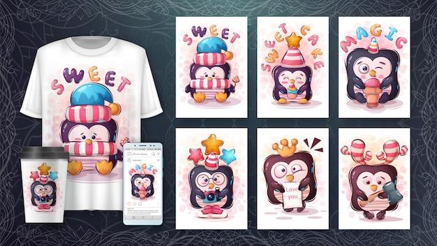 Śliczny ładny pingwin - plakat i merchandising