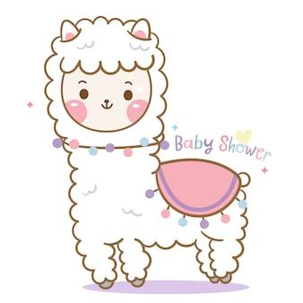 Śliczny lama, kreskówka alpaki
