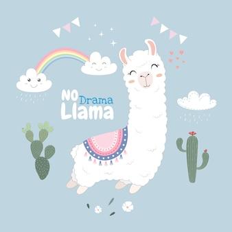 Śliczny lama projekt unosi się w niebie.