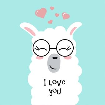 Śliczny lama w miłości.