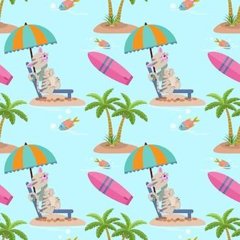Śliczny lato kot na plażowym bezszwowym wzorze.