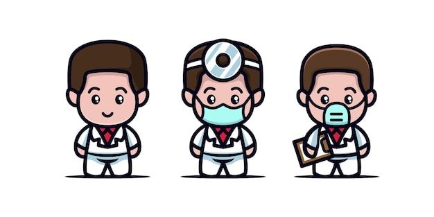 Śliczny lekarz maskotka medyczna covid-19 zgon