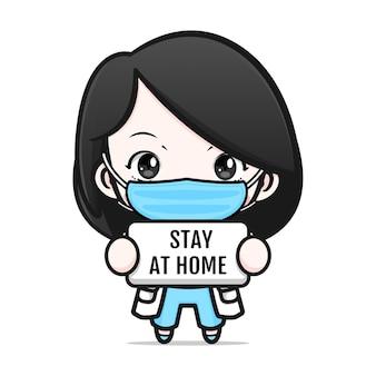 Śliczny lekarz z maską i znakiem pozostania w domu