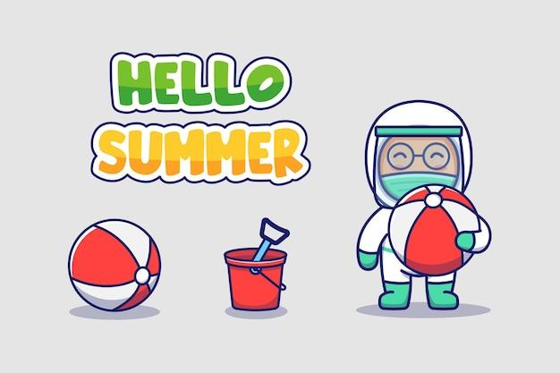 Śliczny lekarz z powitaniem na lato