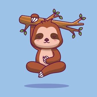 Śliczny leniwiec latający ilustracja kreskówka jogi