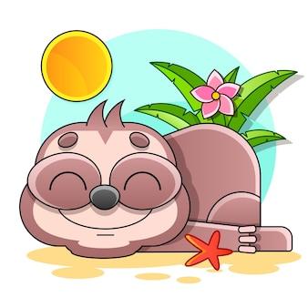 Śliczny leniwiec na gałęzi z girlandą. ilustracja wektorowa. zabawny plakat wakacje.