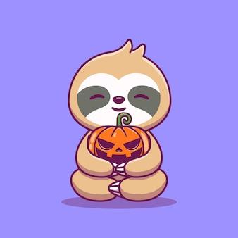 Śliczny leniwiec przytulić dyni halloween kreskówka