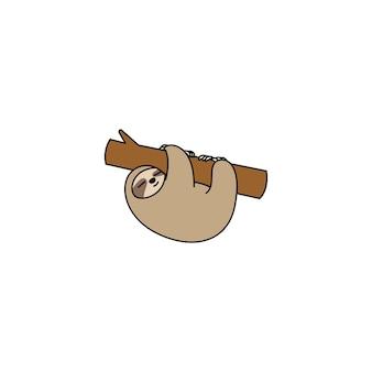 Śliczny leniwiec wiszący na ikonie kreskówki oddziału