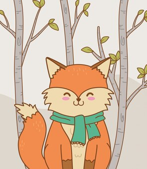Śliczny leśny charakter lisa