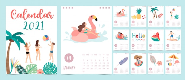 Śliczny letni kalendarz 2021 z ludźmi, plażą, arbuzem i kokosowym drzewem