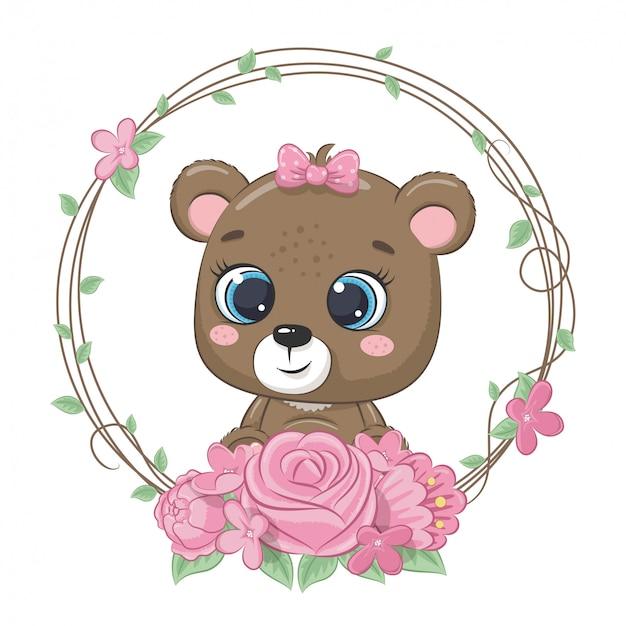 Śliczny letni miś z wieńcem kwiatów. ilustracja na chrzciny, kartkę z życzeniami, zaproszenie na imprezę, nadruk koszulki z modnymi ubraniami