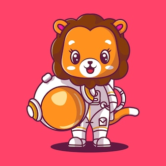 Śliczny lew astronauta ikona ilustracja