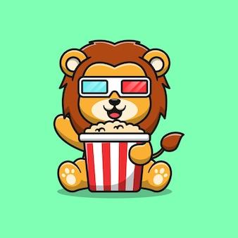 Śliczny lew jedzący popcorn kreskówka ilustracja