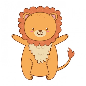 Śliczny lew las charakter