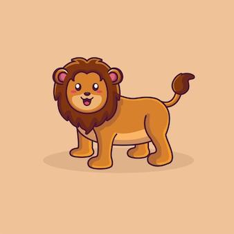 Śliczny lew maskotka ilustracja kreskówka zwierzę dzikość ikona lew logo wektor
