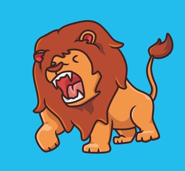 Śliczny lew ryczący tak głośno niebezpieczeństwo kreskówka zwierzę natura koncepcja na białym tle ilustracja płaski styl