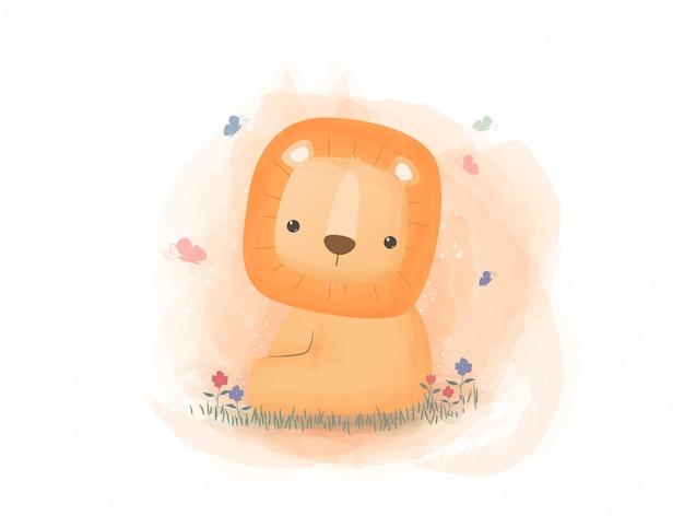 Śliczny lew siedzi na trawy kreskówki pastelowym akwareli stylu