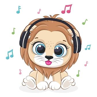 Śliczny lew słucha muzyki w słuchawkach. ilustracja wektorowa kreskówki.