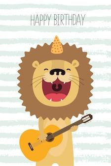Śliczny lew śpiewa i gra na gitarze