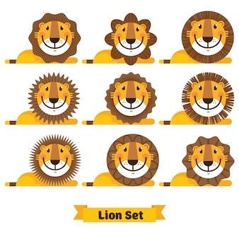 Śliczny lew stawia czoło różne fryzury