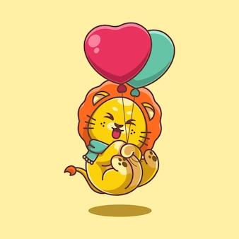 Śliczny lew unoszący się z balonową kreskówką